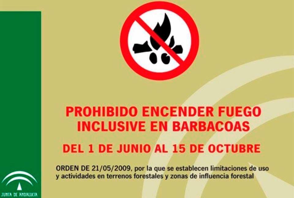Prohibición de encender fuegos en terrenos forestales